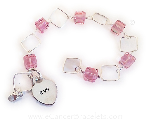 Breast Cancer Bracelet with Name on the Heart Charm